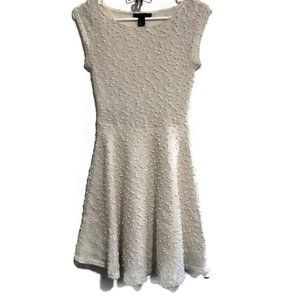 Forever 21 Nubby Knit Fit & Flare Cream Dress Sz S